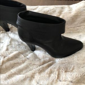 Black leather cuff booties